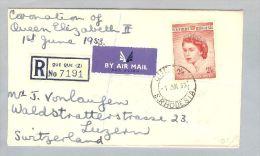 Rhodesien 1953-06-01 R-Luftpostbrief 2/6 Sk.Einzelfr. - Southern Rhodesia (...-1964)