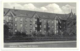 """Postkarte Halle A.S.. 2 Scans. Paul Riebeck Stift (Ostseite) Gelaufen 9.9.1939 Nach Querfurt Mit Werbestempel """"Reichsluf - Halle (Saale)"""