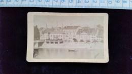 Photo Petit Format Sur Carton, Bale, Basel, Pont Et Quais Du Rhin , Par Weitnauer, Avant 1900 - Lieux