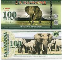 LA SAVANNA - ELEPHANTS / 100 FRANCS - Specimen