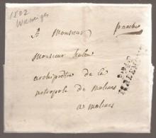 L. Datée De WASSEIGES 1802 Marque P.94.P/TIRLEMONT Pour Malines - 1794-1814 (Période Française)
