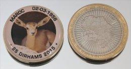Maroc 25 Dirhams 2015 Bimetal + Couleurs Animal Gazelle - Maroc