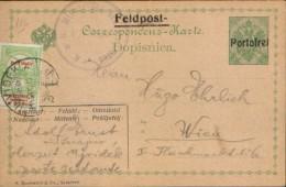 "Austria - Postal Stationery Postcard(feldpost) Circulated In 1914  With Military Censorship, Overprint ´"" Portofrei "" - Postwaardestukken"