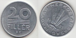 Ungheria 20 Filler 1982 Km#573 - Used - Ungheria