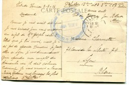 CACHET 13eme Artillerie 1916 Fort De Vancia??sur Cpa LYON - Militaria
