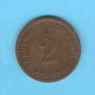 GERMANY   2 PFENNIG  1874 C  (KM # 2) - [ 2] 1871-1918 : German Empire