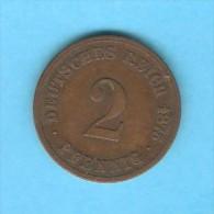 GERMANY   2 PFENNIG  1875 C  (KM # 2) - [ 2] 1871-1918 : German Empire