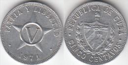 CUBA 5 Centavos 1971KM#34 - Used - Cuba