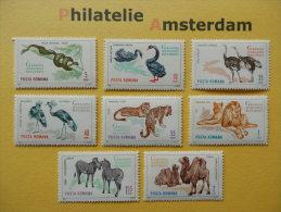 Romania 1964, FAUNA BUKAREST ZOO BIRDS MAMMALS REPTILES: Mi 2330-37, ** - Postzegels