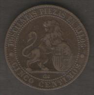 SPAGNA CINCO CENTIMOS 1870 - [ 1] …-1931 : Regno