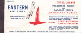 BILLET D�AVION EASTERN AIR LINES 1963 / MONTREAL - MIAMI - NASSAU