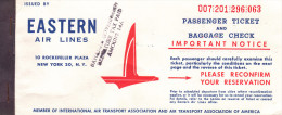BILLET D´AVION EASTERN AIR LINES 1963 / MONTREAL - MIAMI - NASSAU - Plane