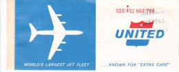 BILLET D�AVION UNITED AIR LINES / SAINT PAUL - CHICAGO- MONTREAL - CHICAGO - SAINT PAUL 1963