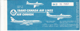BILLET D�AVION TCA AIR CANADA / SEPT ILES - MONTREAL - ST JOHN'S NFLD 1963