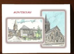 CP L 50043-50377 - CARTE POSTALE DESSIN COULEUR 2 VUES - 50 MONTEBOURG - France