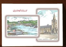 CP L 50400-50439 - CARTE POSTALE DESSIN COULEUR 2 VUES - 50 QUINEVILLE - France