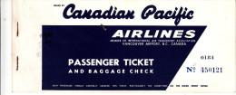 BILLET D´AVION CANADIAN PACIFIC AIRLINES / ROME MONTREAL WINNIPEG CALGARY (STAMPS MARCA DA BOLLO 500 LIRE + 50 LIRE) - Billets D'embarquement D'avion