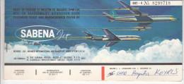 BILLET D´AVION SABENA JET / ATHENS BRUSSELS MONTREAL TORONTO VANCOUVER 1963 - Carte D'imbarco Di Aerei