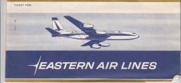LOT DE 2 BILLETS D�AVION AVEC POCHETTE ET TICKET EMBARQUEMENT EASTERN AIRLINES / NEWARK MONTREAL NEWARK
