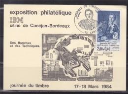 Journ�e du timbre 1984 Carte Postale 1er jour 33 Can�jan 17.3.84 n�2304 Diderot, Expo Philat�lique IBM