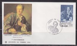 Journ�e du timbre 1984 Enveloppe 1er jour 33 Can�jan 17.3.84 n�2304 Diderot, par Van Loo, mus�e du Louvre