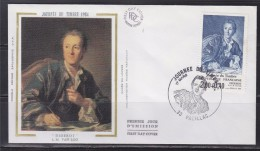 Journ�e du timbre 1984 Enveloppe 1er jour 33 Pauillac 17.3.84 n�2304 Diderot, par Van Loo, mus�e du Louvre