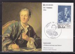 Journ�e du timbre 1984 Carte Postale 1er jour Paris 17.3.84 n�2304 Diderot, par Van Loo, mus�e du Louvre