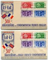 NOUVELLES-HEBRIDES ENVELOPPES 1er JOUR DES N°167/170 ET 171/174 OBLITERATION PORT VILA 20-10-1956 - FDC