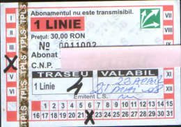 Romania - Season ticket bus ,for one line(route) April 2008