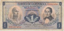 Colombia #404e, 1 Peso Oro, 1970 Banknote Money - Colombia