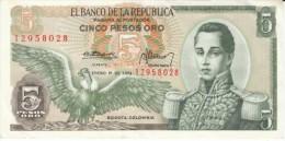 Colombia #406e, 5 Peso Oro, 1973 Banknote Money - Colombia