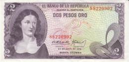 Colombia #413a, 2 Peso Oro, 1972 Banknote Money - Colombia