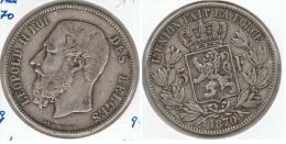 BELGICA 5 FRANCS 1870 PLATA SILVER G1 - 09. 5 Francos