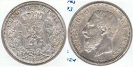 BELGICA 5 FRANCS 1873 PLATA SILVER G1 - 1865-1909: Leopold II