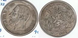 BELGICA 5 FRANCS 1873 PLATA SILVER G2 - 1865-1909: Leopoldo II