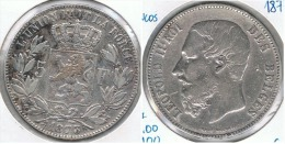 BELGICA 5 FRANCS 1873 PLATA SILVER G3 - 1865-1909: Leopoldo II