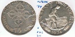 BHUTAN  15 NGULTRUMS FAO 1974 PLATA SILVER G1 - Butan