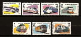 Madagascar 1993 n� 1317 / 23  ** Train, Chemin de Fer, Locomotive, ICE Siemens, Fas, New Jersey Transit, G�n�ral motors