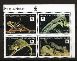 Madagascar 1999 n� 1727L / P  ** WWF, Animaux en voie de disparition, Cam�l�on, L�zard, Phelsuma standingi, Balteatus