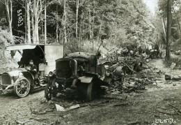 France WWI Front De Guerre Villers Cotterets Convoi Allemand Incendie Ancienne Photo Meurisse 1918 - War, Military