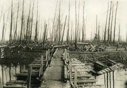 Belgique WWI Front De L Yser Canal Passerelle Tonneaux Ancienne Photo Meurisse 1918 - War, Military