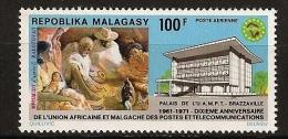 Madagascar 1968 n� PA 117 ** UAMPT, T�l�communication, Brazzaville, B�b�, Lecture, Poule, Coq, Chapeau, T�l�phone, Radio