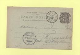 Destination Allemagne Hermeskeil - Nancy - 27 Mars 1898 - Entier Type Sage - Postmark Collection (Covers)