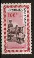 Madagascar 1964 n� PA 96 ** Art malgache, Z�bu, Vache, Corne, Traite, Lait, Enfant, Paysan, Agriculture, Sculpture, Pie