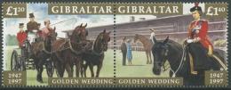 Gibraltar 1997 Goldene Hochzeit Von Königin Elisabeth II. 801/02 ZD Postfrisch - Gibraltar