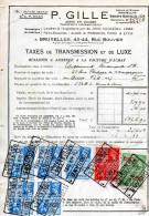 BRUXELLES-24-2-1938-P. GILLE-AGEN EN DOUANE-TAXES DE TRANSMISSION ET DE LUXE - Unclassified