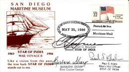 San Diego California Maritime Museum 1986 Cover, Star Of India Sailing Ship Station, Captain Signature - Event Covers