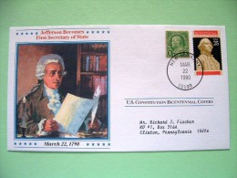 USA 1987 U.S. Constitution Bicentennial Covers - Jefferson 1st Secretary Of State - Lettres & Documents