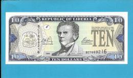 LIBERIA - 10 DOLLARS - 2003 - Pick 27 - UNC. - CENTRAL BANK OF LIBERIA  - 2 Scans - Liberia
