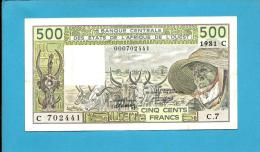 Burkina Faso ( Upper Volta ) - 500  FRANCS - 1981 - Pick 306 C.c - West African States - 2 Scans - Burkina Faso